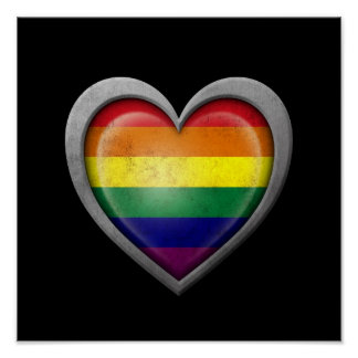 Bandera del corazón del arco iris del orgullo gay posters