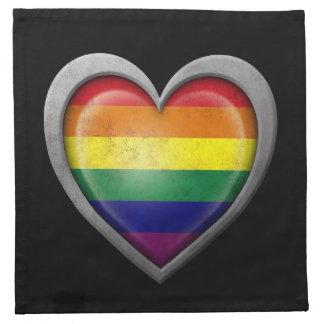 Bandera del corazón del arco iris del orgullo gay  servilleta imprimida