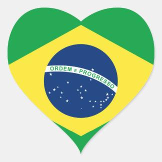 bandera del corazón del Brasil Pegatina En Forma De Corazón