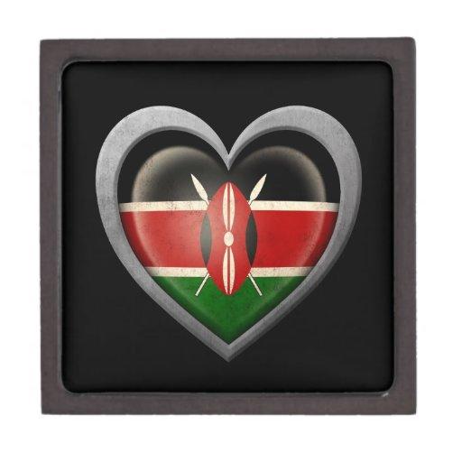 Bandera del corazón del Kenyan con efecto del meta Cajas De Regalo De Calidad
