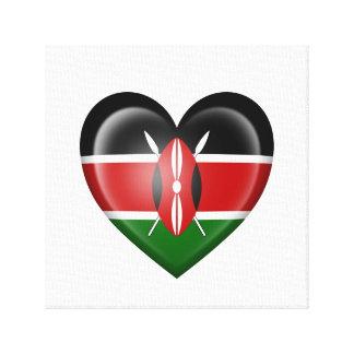 Bandera del corazón del Kenyan en blanco Lona Envuelta Para Galerias