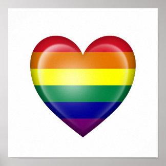 Bandera del corazón del orgullo gay del arco iris posters
