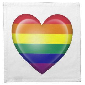 Bandera del corazón del orgullo gay del arco iris  servilleta imprimida