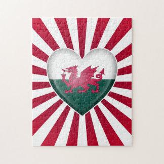 Bandera del corazón Galés con la explosión de la e Puzzle