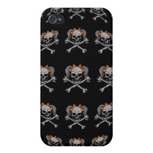 Bandera del cráneo de la cola de caballo iPhone 4/4S carcasa
