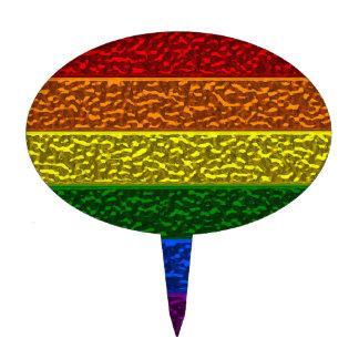 Bandera del cromo del orgullo gay decoraciones para tartas