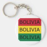 Bandera del cuadrado del texto de Bolivia Llavero Redondo Tipo Pin