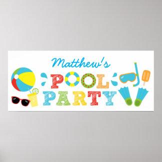 Bandera del cumpleaños de la fiesta en la piscina póster