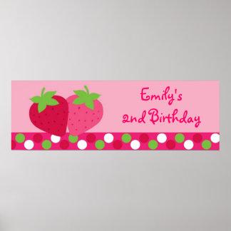 Bandera del cumpleaños de la fresa póster