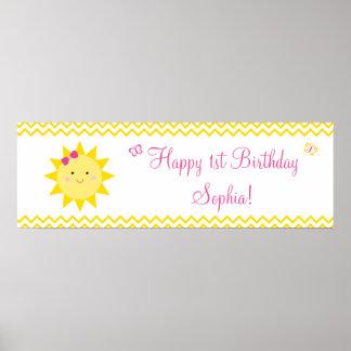 Bandera del cumpleaños de la sol usted es mi sol póster