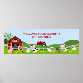 Bandera del cumpleaños de los animales del campo posters