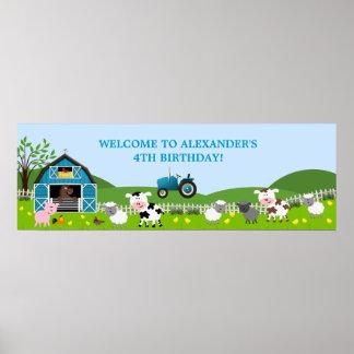 Bandera del cumpleaños de los animales del campo póster
