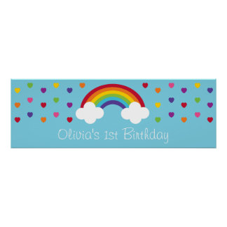 Bandera del cumpleaños de los corazones del arco póster