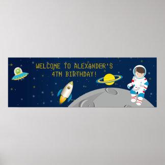 Bandera del cumpleaños del astronauta del espacio póster