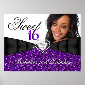 Bandera del cumpleaños del dulce 16 púrpuras del b póster