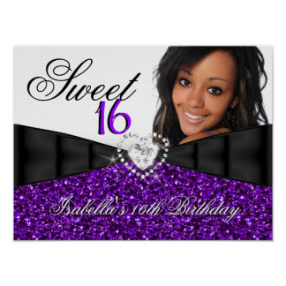 Bandera del cumpleaños del dulce 16 púrpuras del póster