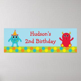 Bandera del cumpleaños del monstruo póster