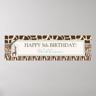 Bandera del cumpleaños del safari y de la jirafa d poster
