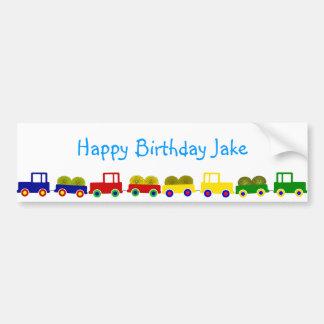 Bandera del cumpleaños del tractor de granja pegatina para auto