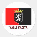 Bandera del d'Aosta de Valle con nombre Etiqueta Redonda