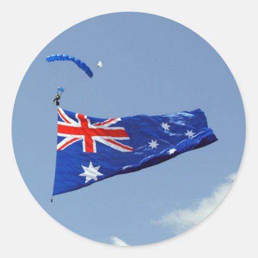 Bandera del día de Australia Pegatina Redonda