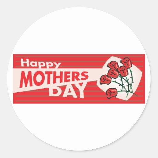 Bandera del día de madres pegatina redonda