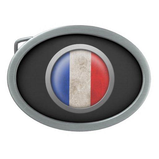 Bandera del disco de Francia Hebillas De Cinturon Ovales