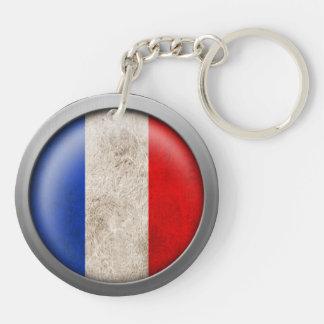 Bandera del disco de Francia Llavero Redondo Acrílico A Doble Cara