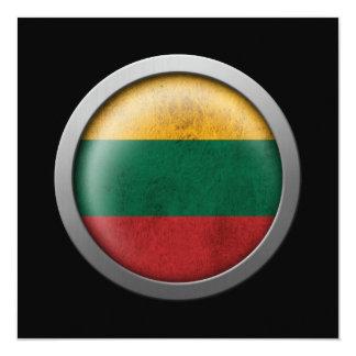 Bandera del disco de Lituania Invitación 13,3 Cm X 13,3cm