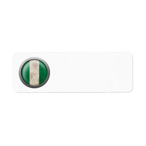 Bandera del disco de Nigeria Etiquetas De Remite