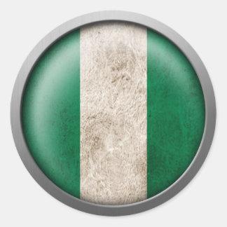Bandera del disco de Nigeria Pegatina Redonda