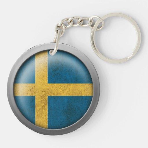 Bandera del disco de Suecia Llavero