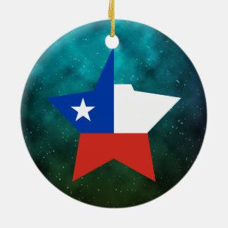 Bandera del diseño de la estrella de Chile Adorno Redondo De Cerámica