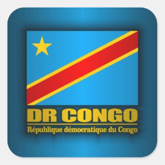 Bandera del dr Congo Pegatinas Cuadradases Personalizadas