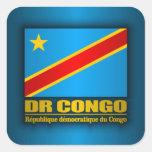Bandera del dr Congo Pegatina Cuadrada