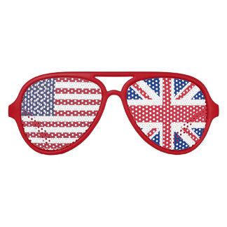 Bandera del dúo de Reino Unido y de los E.E.U.U. Lentes De Sol