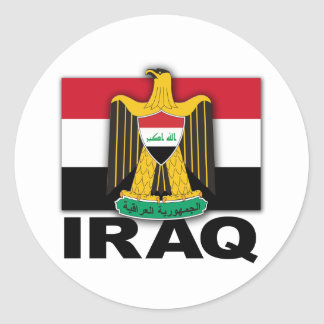 Bandera del escudo de armas de Iraq Pegatina Redonda