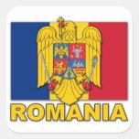 Bandera del escudo de armas de Rumania Pegatina Cuadrada