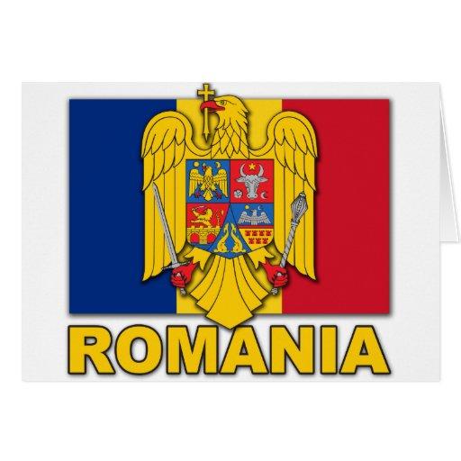Bandera del escudo de armas de Rumania Tarjetas