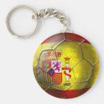 Bandera del español de la bola del Grunge del fútb Llavero Redondo Tipo Pin