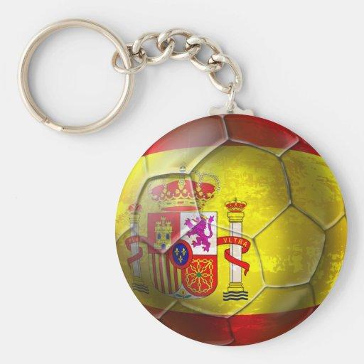 Bandera del español de la bola del Grunge del fútb Llavero Personalizado