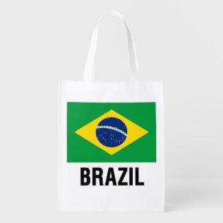 bandera DEL ESQUEMA del Brasil Bolsa Reutilizable