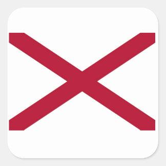 Bandera del estado de Alabama Pegatina Cuadrada