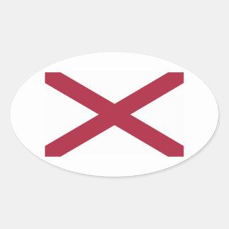 Bandera del estado de Alabama Pegatina Ovalada