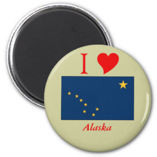 Bandera del estado de Alaska Imán Redondo 5 Cm