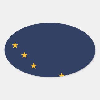 Bandera del estado de Alaska Pegatina Ovalada