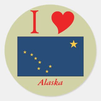 Bandera del estado de Alaska Pegatina Redonda