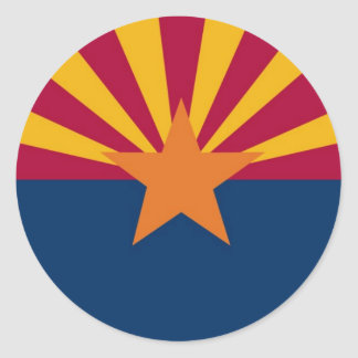 Bandera del estado de Arizona Pegatina Redonda