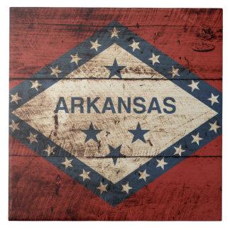 Bandera del estado de Arkansas en grano de madera Azulejo Cuadrado Grande