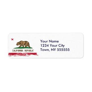 Bandera del estado de California del Grunge Etiqueta De Remite